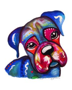 This colorful and happy furbaby was painted as part of a series titled, Dog Day Afternoon, by Jill English. #dogart
