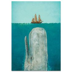 The Whale by Terry Fan Poster Print on recycled by lalalandshop