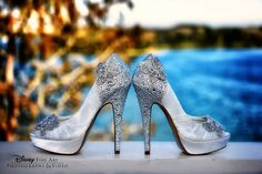 These dazzling bridal heels remind us of Cinderella's glass slippers!. Photo: Mike, Disney Fine Art Photography