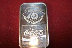 COCA COLA COKE ROANOKE VIRGINIA 1977 75th ANNIVERSARY .999 SILVER 1 TROY OZ Silver Investing, Roanoke Virginia, Silver Bullion, Troy, Coke, Coca Cola, Anniversary, Cola