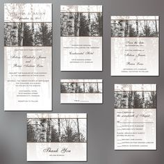 Tree Save the Date Cards, Bare Birch Trees