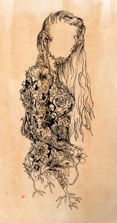 This image is an abstract illustration of a woman made out of flowers and vines. Art Photography, Sketches, Tattoos, Art Tattoo, Drawings, Amazing Art, Artwork, Ink, Mother Nature Tattoos