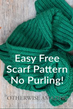 This free knit scarf pattern involves no purl stitches, making it the perfect choice for beginner knitters. It's easy but creates a beautiful rib stitch. Mens Scarf Knitting Pattern, Mens Knitted Scarf, Loom Knitting, Knitting Stitches, Free Knitting, Knitted Hats, Start Knitting, Knitted Scarves, Knit Scarf Patterns