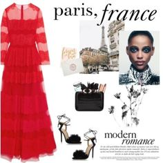How to Style a Red Lace Dress with Black Strappy Heels and a Nude Lip for a Winter Wedding in Paris, France
