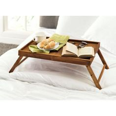 Home Basics Brown Bed Tray Lap Tray, Desk Tray, Rustic Wood Bed, Pine Beds, Breakfast Tray, Morning Breakfast, Sunday Morning, Breakfast Recipes, Portable Table