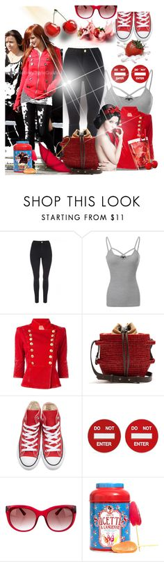 """""""Untitled #7273"""" by princhelle-mack ❤ liked on Polyvore featuring Guide London, Jane Norman, Pierre Balmain, Khokho, Converse, Moschino and Thierry Lasry"""
