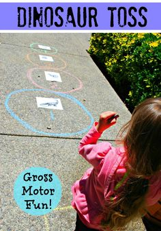 Dinosaur Toss - Kids learn about the sizes of dinosaurs while playing a fun gross motor game.