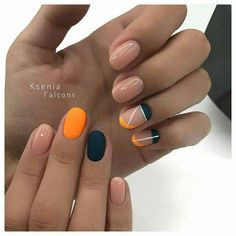 There are three kinds of fake nails which all come from the family of plastics. Acrylic nails are a liquid and powder mix. They are mixed in front of you and then they are brushed onto your nails and shaped. These nails are air dried. Orange Nail Designs, Nail Art Designs, Nails Design, How To Do Nails, Fun Nails, Almond Nail Art, Nail Polish, Minimalist Nails, Trendy Nail Art