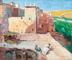 Jacques Majorelle - Kasbah au bord de l'oued Arabian Theme, Tell The World, Art Moderne, Marrakech, Storyboard, Belle Photo, Architecture, Painting, Image