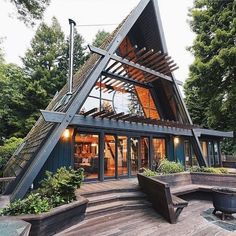 A Frame House Plans, A Frame Cabin, Triangle House, Wood Interior Design, Wood Design, Cabins And Cottages, Log Cabins, Mountain Cabins, Cozy Cabin