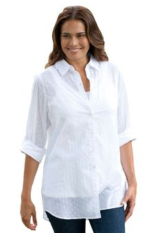 23848af3658 Woman Within Plus Size Shirt in tunic length with easy fit