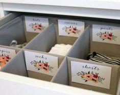 Floral printable baby nursery drawer labels basket labels print yourself baby girl nursery decor nursery organization nursery reveal! a classic baby boy nursery Baby Boy Nursery Room Ideas, Baby Nursery Closet, Baby Girl Closet, Room Baby, Girl Room, Baby Closets, Baby Girl Nursey, Nursery Office, Babies Nursery