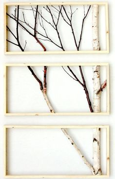 Branch Decor branch art- i love this for a powder room or a dual purpose room