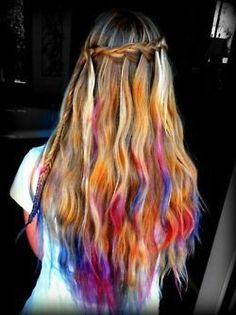 waterfall braids and coloured hair