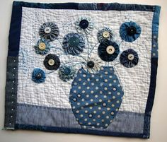 Thread and Thrift: Wednesday Blues Blue Quilts, Small Quilts, Mini Quilts, Wool Applique, Applique Quilts, Quilting Projects, Sewing Projects, Art Quilting, Nancy Zieman