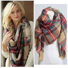 """Tartan Blanket Plaid scarf wrap shawl checked Brand New without tags. Retail item. Soft, cozy and warm. Tartan Blanket Plaid scarf wrap shawl checked. Very stunning and classic. So many ways to wear it. Pair with fur vest and leather leggings, available in my closet in four colors 👉Material : 100% Acrylic. Measurement : 60""""x 55"""" Boutique Accessories Scarves & Wraps"""