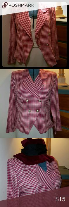Mean Girl? a Little Clueless? This is your jacket! Belle Hot pink and white gingham print jacket.  Straight out of the movies.  I have a maroon floppy velvet hat even if you want me to list it.  It is a size 12 fits like an XL  It has a matching skirt I will throw in free because it needs the seam in the back by the zipper resewn.  Or you could cut it up and make a jacket for your dog. Jackets & Coats Blazers
