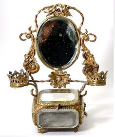 Antique French Paris Souvenir Jewelry Casket, Mirror Vanity, Thick Beveled Glass