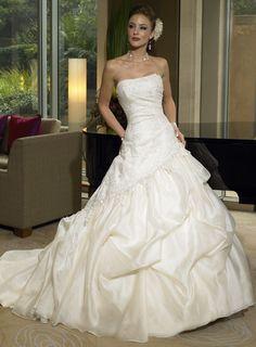 Princess Chapel Train Strapless Taffeta Sleeveless Wedding Dresses