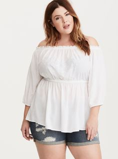 Floral Embroidered Challis Off Shoulder Top, BRIGHT WHITE