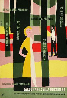 Polish Poster Design of Waldemar Swierzy - 1956 poster for Villa Borghese (Gianni Franciolini, Italy, Vintage Graphic Design, Graphic Design Typography, Graphic Design Inspiration, Graphic Art, Design Ideas, Illustration Design Graphique, Art Graphique, Graphic Illustration, Book Cover Design