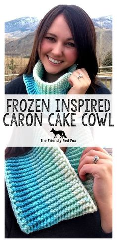Free Pattern Frozen Inspired Caron Cake Cowl - The Friendly Red Fox