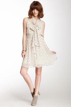 Printed Bow Tie Sleeveless Dress//