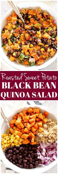 Roasted Sweet Potato Black Bean Quinoa Salad Recipe - healthy and filling quinoa salad with cumin roasted sweet potatoes and quick oil and lime vinaigrette. Perfect as a side dish or a healthy lunch!