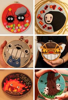 Studio Ghibli HOOPS / Spirited Away, My Neighbor Totoro, Howl's Moving Castle, Mononoke Princess Embroidery Art, Cross Stitch Embroidery, Embroidery Patterns, Embroidery Hoops, Totoro, Geek Crafts, Diy Crafts, Anime Crafts, Craft Projects