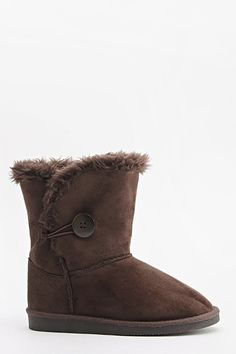 Faux Fur Button Side Boots