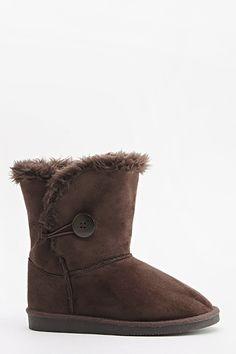 Faux Fur Button Side Boots