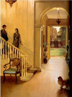 'Hall of Argyll House, Chelsea, London; with Syrie Maugham and Sibyl Colefax, by John Lavery c. 1930