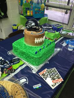 Seahawks football birthday cake