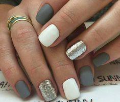 matte grey white and gold elegant nails