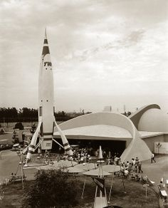 Flight to the Moon, Disneyland: The TWA Moonliner is undoubtedly the most imposing sight at the Flight to the Moon Exhibit at Tomorrowland, Disneyland, in thos photo dated 1955.