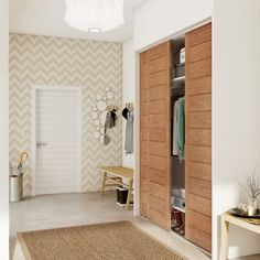 porte_de_placard_coulissante__chene_naturel_spaceo__250x66cm Dressing Design, Flur Design, Hallway Designs, Folding Doors, Walk In Closet, Feng Shui, Room Decor Bedroom, Tall Cabinet Storage, Condo