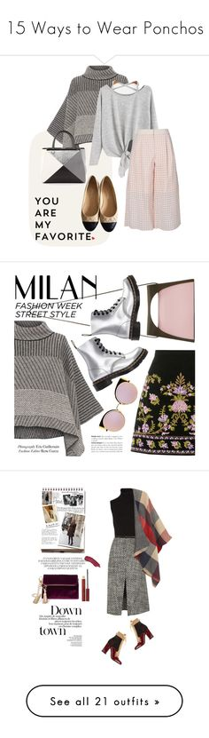 """""""15 Ways to Wear Ponchos"""" by polyvore-editorial ❤ liked on Polyvore featuring ponchos, waystowear, Piazza Sempione, TIBI, Chanel, Fendi, J.W. Anderson, Dr. Martens, Andrea and laceup"""