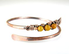 Copper Wire Wrapped Bracelet with Amber Glass by BonzerBeads