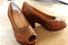 Brown leather utility pump...done and done!