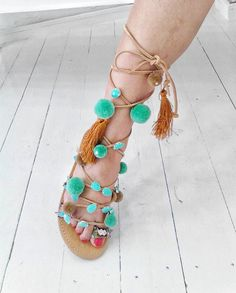 Amazing Greek sandals ''Goddess Aphrodite'' with blue aqua stones ,pompoms,large tassels and total friendships by boutiqueofsandals on Etsy