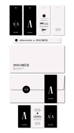 """""""ANNAAMÉLIE / 2011 by kissmiklos , via Behance"""" This logo, combined with its additional visual identity elements works well to convey the fashion line it was developed for. The logo has three variations: one A, two A's separated by a needle, and Anna Amelie - the name of the fashion line. The designer used a classic, sturdy serif typeface with strong stroke weight contrast and then simply removed the middle bar on the A and E…"""
