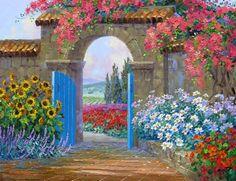 Mikki Senkarik American Plein air painter A Touch of Greece Tutt'Art@ () Tuscany Landscape, Pintura Exterior, Garden Painting, Painting Inspiration, Watercolor Art, Greece, Scenery, Pastel, Gallery
