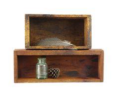 Vintage Wood Box, Rustic Decor, Storage Organizer, Set of Two