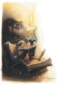 What reads the gnome?  (illustration by:  Pascal Moguerou)