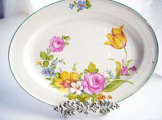 Floral vintage platter