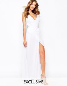 Image 1 ofFame and Partners Deco Siren Wrap Front Cami Strap Maxi Dress With Thigh Split