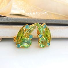 Vintage D&E Juliana Blue Zircon Peridot Green by erisjewels