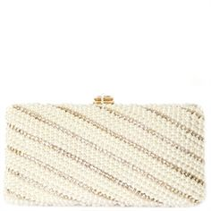 CLUTCH PÉROLA E STRASS DIAGONAL - OFF WHITE