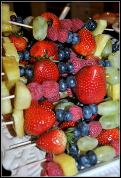 Fruit Kabobs..Soooo gonna do this at the girls' BDay Parties with a Chocolate Fountain Santa brought Carynna.. <3