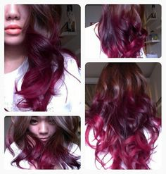 Brown And Red Ombre Hair hair brown hair red hair ombre hairstyles ombre hair dip dyed colored hair hair colors hair ideas hair trends 2 toned Pink Hair Tips, Dark Pink Hair, Pink Ombre Hair, Hair Color Dark, Purple Ombre, Red Purple, Magenta Hair, Burgundy, Color Blue